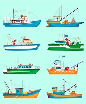 漁船セット。伝統的な漁師のトロール船、クレーン付きの船、淡いブルーで隔離された貨物。漫画イラスト