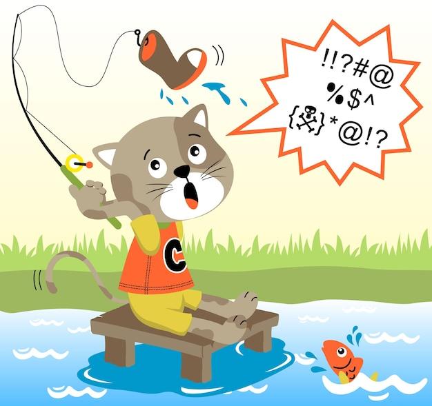 Рыболовный мультяшный вектор
