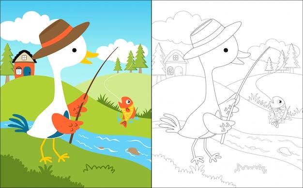 Fishing cartoon with cute crane