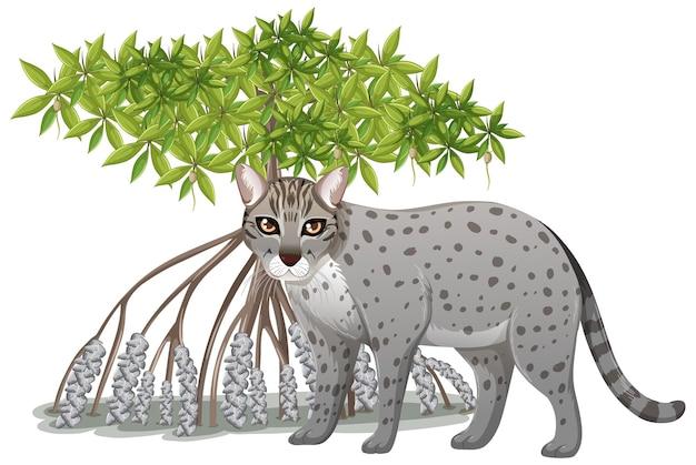 Gatto pescatore con albero di mangrovie in stile cartone animato su sfondo bianco