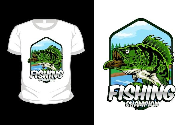 Fishing champion illustration t shirt design