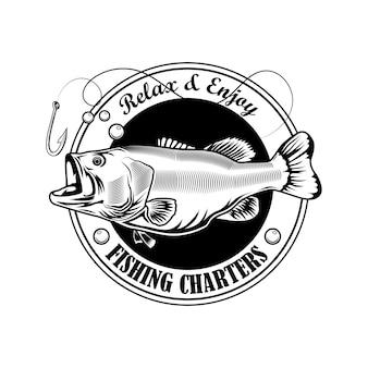 Рыбалка чартер штамп векторные иллюстрации. рыба, крючок и текст на ленте. концепция рыбалки для лагеря эмблемы и шаблоны этикеток