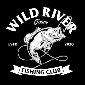 Fishing club design with bass fish illustration