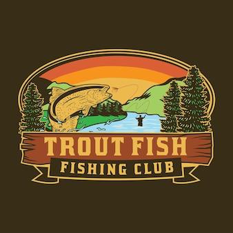 マスの魚のイラストと釣りクラブのデザイン