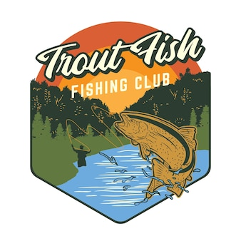 Fishing club design with trout fish illustration