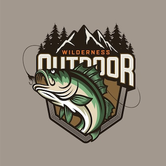Fishing club logo template isolated on grey