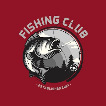 Fishing club logo template isolated on smart colors