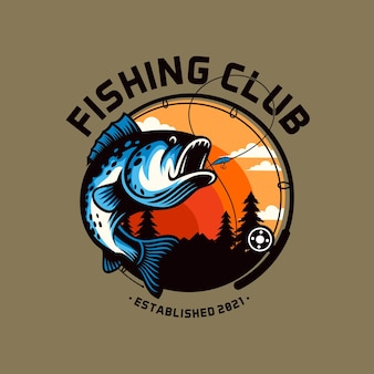 Fishing club logo template isolated