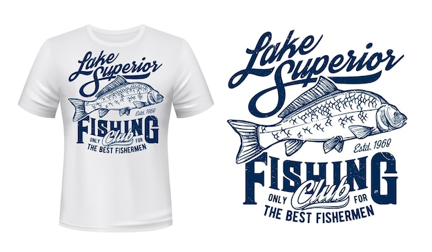 Fishing club t-shirt print engraved illustration