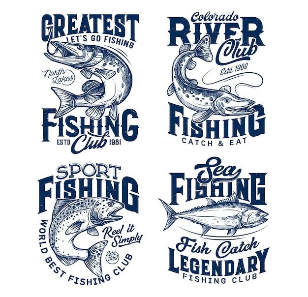 Fishing club t shirt prints, sea fish on rod hook
