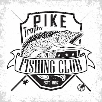 Fishing club vintage logo , emblem of the pike fishermen, grange print stamps, fisher typography emblem,