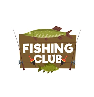 Fishing club wooden sign with perch and pike. vector wood board with fish trophy and spinnings with floats. emblem for fisherman tournament, sport competition outdoor activity, cartoon design element
