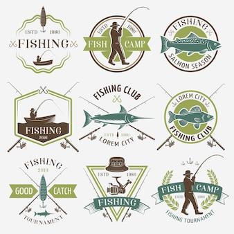 Emblemi colorati di mazze da pesca