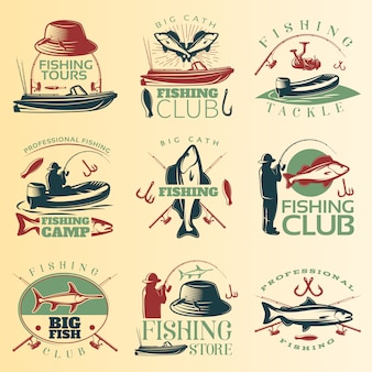 Fishing colored emblem set with fishing tours club tackle and camp descriptions