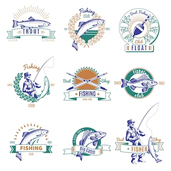 Набор красочных эмблем рыбалка
