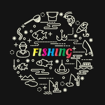 Fishing colorful gradient with line icons set