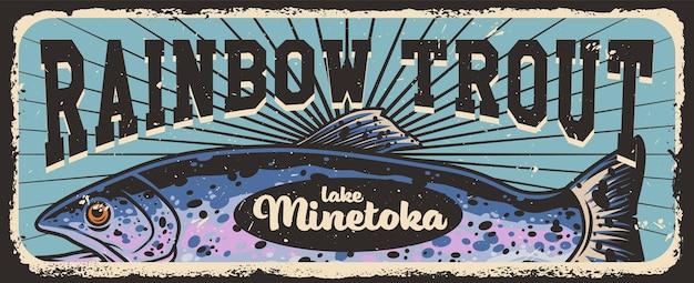 Рыбалка красочный горизонтальный плакат с радужной форелью в винтажном стиле