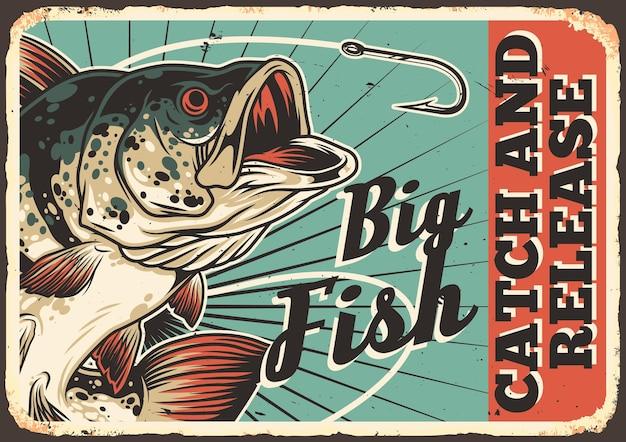 Рыбалка красочный винтажный горизонтальный плакат с надписью большой окунь и острый рыболовный крючок