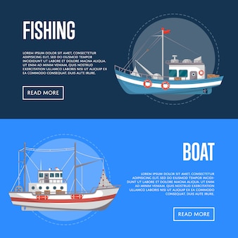 Fishing company banners with commercial small boats
