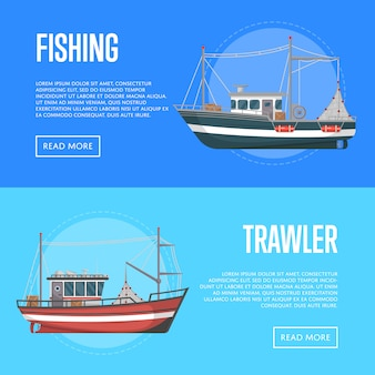 Fishing company banners with trawlers