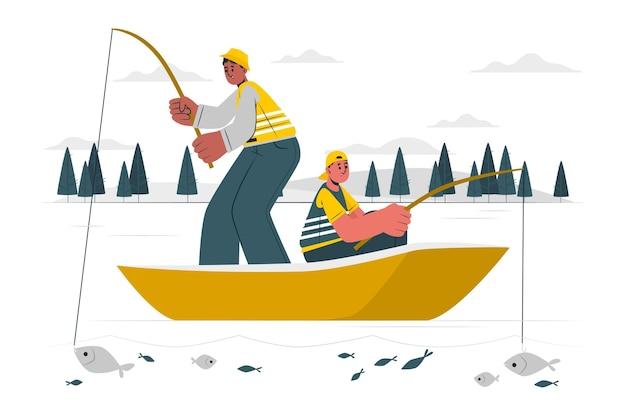 Illustrazione del concetto di pesca