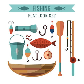 Fishing conceptual icons set. flat design. recreation near the water.