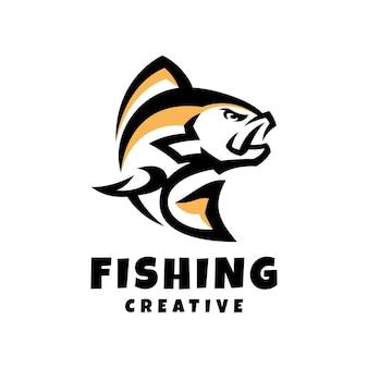 Fishing creative logo design template