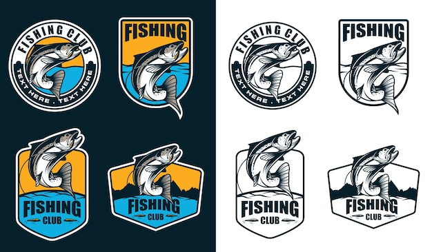 Fishing emblem logo