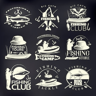 Fishing emblem set on dark with big catch fishing club professional fishing fishing camp and store descriptions