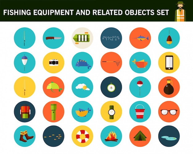 Fishing equipment and related objects set concept flat icons