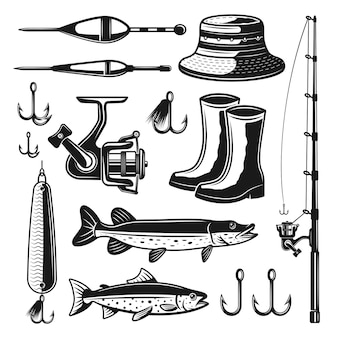Fishing equipments and tackles set of monochrome objects or elements