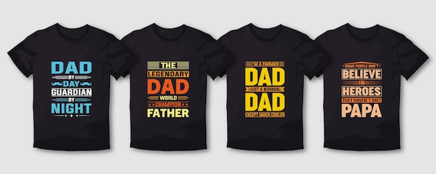 Fishing father and mom typography t shirt design lettering  set