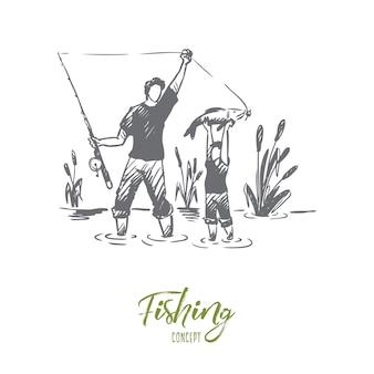 釣り、父、息子、家族の概念。手描きのお父さんと彼の息子が一緒に釣りをするコンセプトスケッチ。