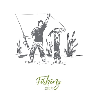 Fishing, father, son, family concept. hand drawn dad and his son fishing together concept sketch.