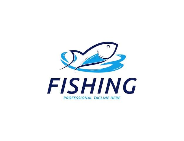 釣り魚のシーフードのロゴやエンブレムのデザイン
