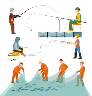 Fishing fishermen people