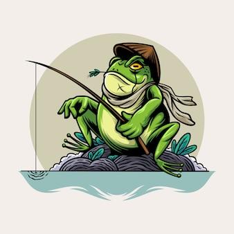 Рыбалка лягушка иллюстрация