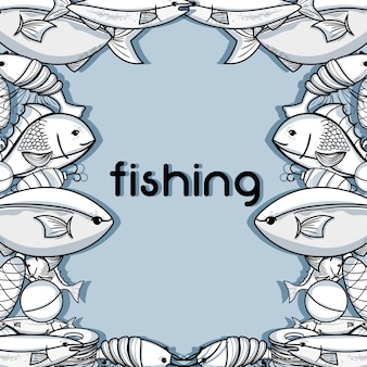 Fishing funny sport to catch sea food background vector illustration