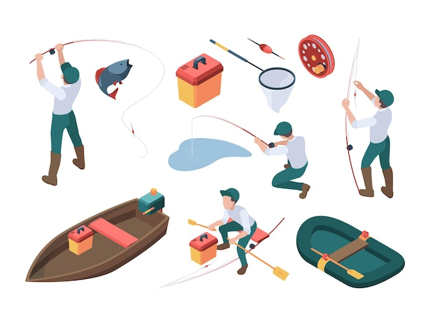 Fishing hobbies. sport fisherman relaxing at nature spinning and rod rubber boat in river vector isometric people