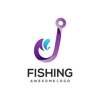 Логотип рыболовного крючка красочный градиент