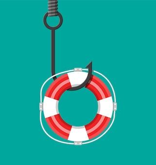 Рыболовный крючок со спасательным кругом. ловушка на крючке. проигрыш, банкротство, девальвация, дефицит, мошенничество, преступность и ложь.