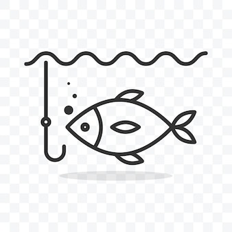 Fishing icon fish in water and fishhook vector illustration on transparent background.