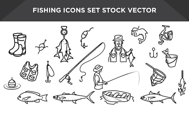 釣りアイコンセットストックベクトル