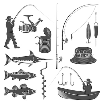 Fishing icons set