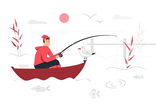 Fishing illustration concept