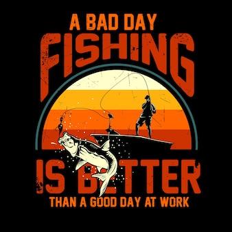 Tシャツグラフィックの釣りイラスト