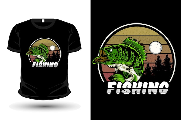 Fishing illustration merchandise t shirt design retro style