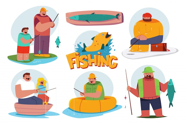 Fishing illustration with fisherman characters set isolated on a white background.
