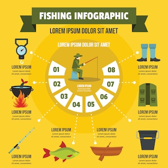 Fishing infographic concept, flat style
