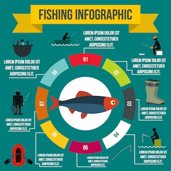 Fishing infographic elements in flat style for any design